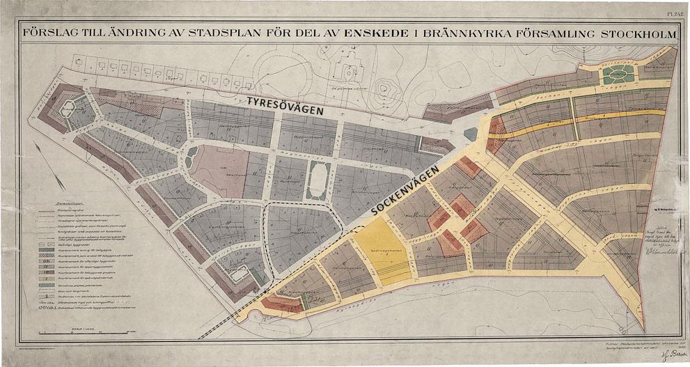 Stadsplan nuvarande Enskededalen. Föreningens område markerat.