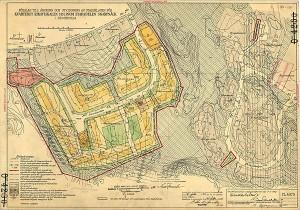Riksrådsvägens hyresradhus planerades samtidigt som Bagarmossen, detaljplan 1952.