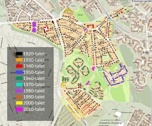 Fastigheternas ungefärliga bebyggelseår. Uppdaterat till 2013.